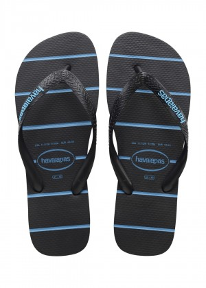 Slapi HAVAIANAS Top Stripes Logo black/turqouise